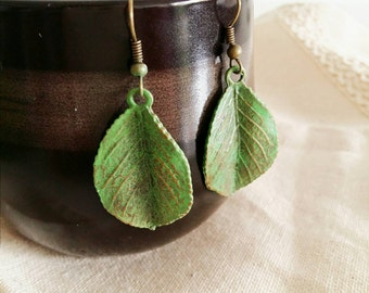 Rustic Patina Antique Bronze Earrings, Leaf Earrings, Wedding Earrings, Gift for her, Valentine Gift, Boho Earrings, Nature Earrings