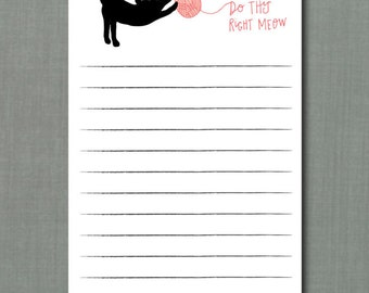 Whimsical Cat Lady Meow To Do List Notepad // 4.25 x 7  Notepad // 50 Sheets // To Do List