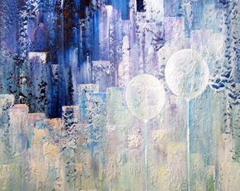 Acrylic Painting Large Canvas Art CONTEMPORARY ART ABSTRACT Landscape Textured Large Painting Purple White Turquoise 40x28x1,5 100x70x3,6cm