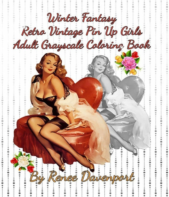 PDF of Winter Fantasy Retro Vintage Pin Up Girls Adult Grayscale Coloring Book--26 Coloring Pages