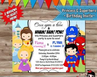 PRINCESS and SUPERHERO Invitation, Disney Princess and Superhero Birthday Invite, You Choose, Digital Printable Invite, JPG File
