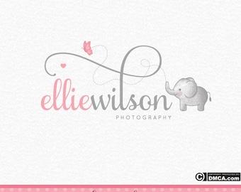 Premade Elephant Logo, Baby Elephant Logo, Photography Logo, Butterfly Logo, Baby Logo, Small Business Logo, Watercolor Logo, Watermark
