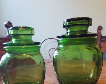 Green glass, two cannister set.