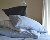 Sky Blue stonewashed linen pillow case. Standard and King sizes
