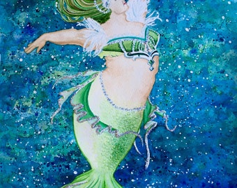 Green and Glitter Mermaid Watercolor Painting Chubby Mermaid Art