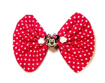 Minnie Mouse Hair Bow Clip Red & White Rose Floral Fabric Spotty Polka Dot cameo hairbow bow tie