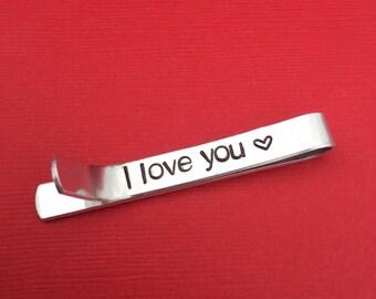 I Love You Hand Stamped Tie Bar, Heart Tie Clip, Secret Message, Men's Gift, Long Distance Relationship Gift, Boyfriend Gift, Groom Gift