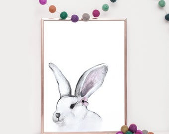 Black and White Bunny Nursery Art Print