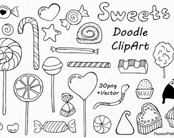 Doodle Sweets clipart, Candy clip art, Dessert Doodles, PNG, EPS, AI, Vector, line art, Hand Drawn Candies, For Personal and Commercial use