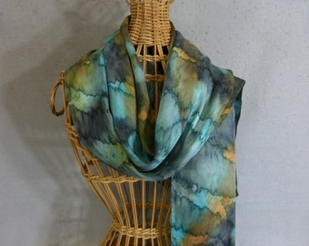 "Silk Scarf ""Blue-Green and Moss Green Blend "", Hand Painted Silk Jacquard Scarf"