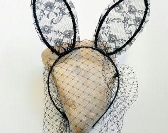 Bunny ears or Cat ears headband veil black lace bunny ears black lace cat ears Ariana Grande ears Masquerade bachelorette ears