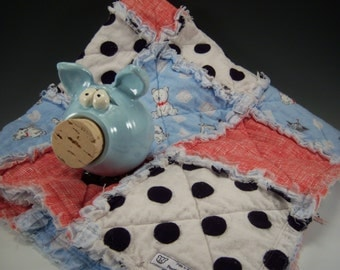 Pig 'N Blankie | Pottery Piggy Bank and Matching Baby Blanket, Blue Piggy Bank, Newborn Baby Gift, Baby Shower Gift, Pottered and Pieced