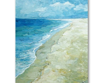 Large seascape oil painting, beach with waves painting, vertical seascape painting, contemporary art