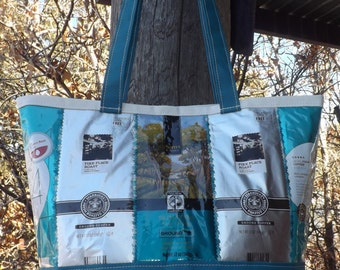 SALE Blue Coffee Bags & Yurt Fabric Bag Purse Tote Recycled Upcycled Repurposed Canvas Handmade
