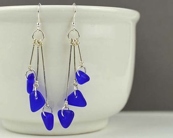 Cobalt blue sea glass earrings sea glass jewelry sterling silver dangle earrings recycled glass beach glass handmade jewelry Valentines gift