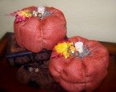 Burlap pumpkin, Fabric pumpkin, Fall pumpkin, burlap pillow, Halloween decor, Fall decor