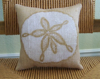 Sand dollar pillow, Shell pillow, Beach pillow, Burlap pillow, Nautical pillow, stenciled pillow, Beach pillow, FREE SHIPPING!