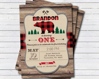 Lumberjack invitation. Lumberjack first birthday party invitation. Buffalo red plaid woodland Camping bear Outdoor digital Invitation KB199
