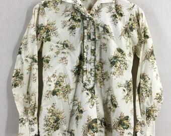 Vintage 1970s H Bar C Women's Floral Design Pearl Snap Western Shirt Sz 32