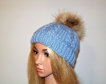 Light Grey Alpaca Wool Hat ,Alpaca Wool Hat, Winter Cap,Womans Hat , Natural Fur Pompon,Hat Fur Pom Pom,Hand Knitted Hat,Handmade Cap