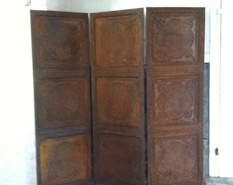 Industrial Metal Screen Rusted Vintage Ceiling Tin Room Divider Folding Ceiling Tin Screen Architectural Garden Rusted Metal French
