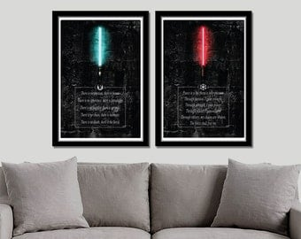 Jedi Code VS Sith Code Inspired Poster Set - Print 338 - Home Decor
