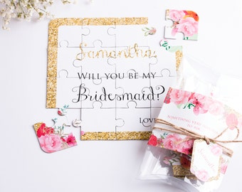 Bridesmaid Proposal Puzzle. Bridesmaids Gift Wedding Invitation Personalized Gold Will You Be My Bridesmaid Puzzle