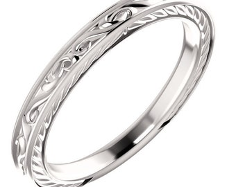 Vintage Band Handmade 14k White Gold