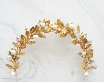 Sample Sale - Marble and gold leaves crown, Gold bridal hair vine, Marble white black gold, Leaves head piece, Bridal grecian, Gold crown