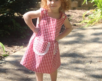 Red Gingham Dress with lace trimmed pockets
