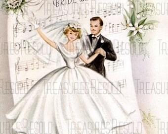 Retro Bride And Groom Sheet Music Wedding Card #460 Digital Download