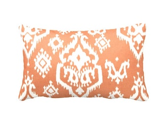7 Sizes Available: Orange Pillow Cover Orange Throw Pillow Orange Accent Pillow Cover 12x16 12x24 16x16 Ikat Pillow Lumbar Pillow