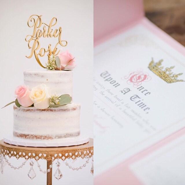 Custom Name Cake Topper Wedding Engagement Bridal Shower Anniversary Birthday