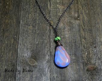 Boho Czech Glass and Lampwork Glass Pendant Necklace, Oxidized Copper Dark Patina Jewelry, Blue & Peach Glass Teardrop, Lime Green, Artisan