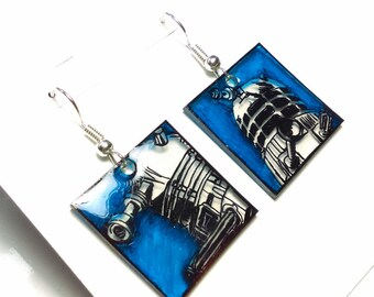 Obey! ~ ooak hand-drawn Dalek earrings