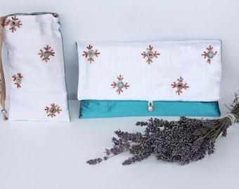 Silk make up organizer+silk case for sunglasses or eyeglasses