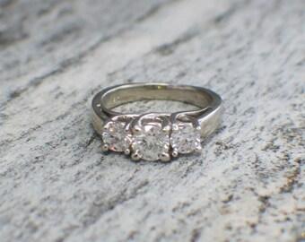 White Gold Three Stone Diamond Ring