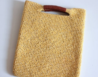 Raffia tote medium, Leather trimmed raffia bag,  Sequin straw bag, Summer handbag, Top handle bag