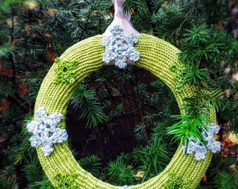 "Winter Holidays Decor Hand Knit Green Wreath with Crochet Silver Snowflakes 12"" Winter Home Accents Christmas Door Wreath"
