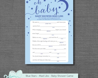 Blue Stars Mad Libs Baby Shower Game, Baby Mad Libs, Instant Download, Printable Baby Game, Printable Mad Libs, Boy, Twins, Moon, 1S