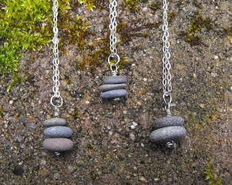 Beach Rock Necklace Sea Stone Pendant Stacked Beach Stone Pendant