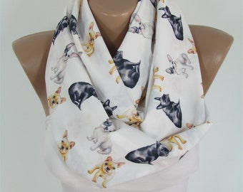 French Bulldog Scarf Dog Scarf Frenchie Scarf Animal Infinity Scarf Christmas Gift For Her Teen For Pet Mom Winter Women Fashion Accessories