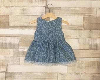 Denim Dress | Denim Baby Dress | Floral Denim Dress | Patterned Denim | Baby Girls Dress