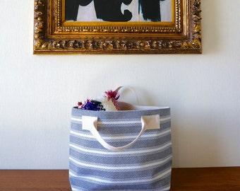 Blue Knit Striped Tote Bag / Handbag / Purse