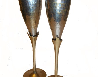 Hammered Brass and Silver Champagne Flutes