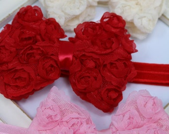 Chiffon Rosette Bow Headband - Available in Red, Ivory or Pink