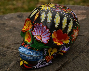 One of a kind Ceramic Detailed Mexican Decor Flowers Points Hearts Dia de los Muertos Colorful Day of the Dead Sugar Skull MADE TO ORDER