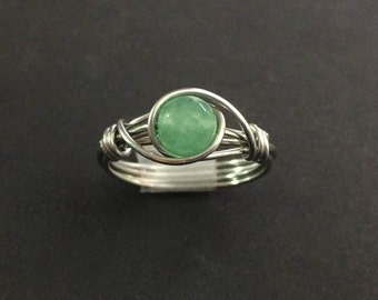 Emerald Wire Wrap Ring