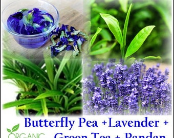 Introduction Price! New NEW MORNING THAI Tea Blend: Butterfly Pea + Green Tea + Pandan + Lavender, Very Aromatic! Organic, Caffeine Tea