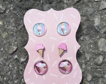 Ice Cream earrings pink